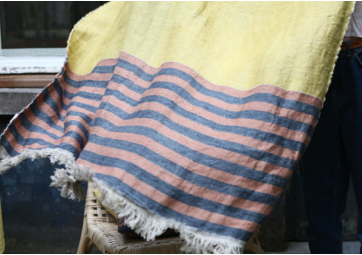 The Belgian Towel Fouta Red earth stripe - LIBECO