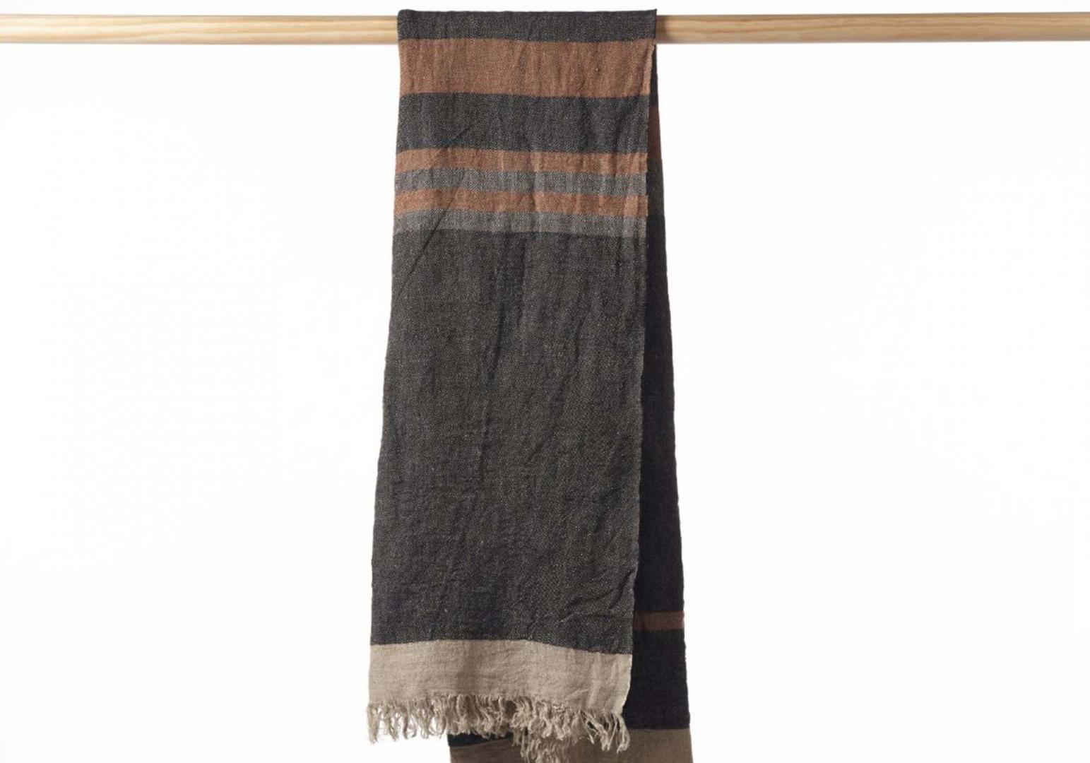 The Belgian Towel Fouta black stripe - LIBECO