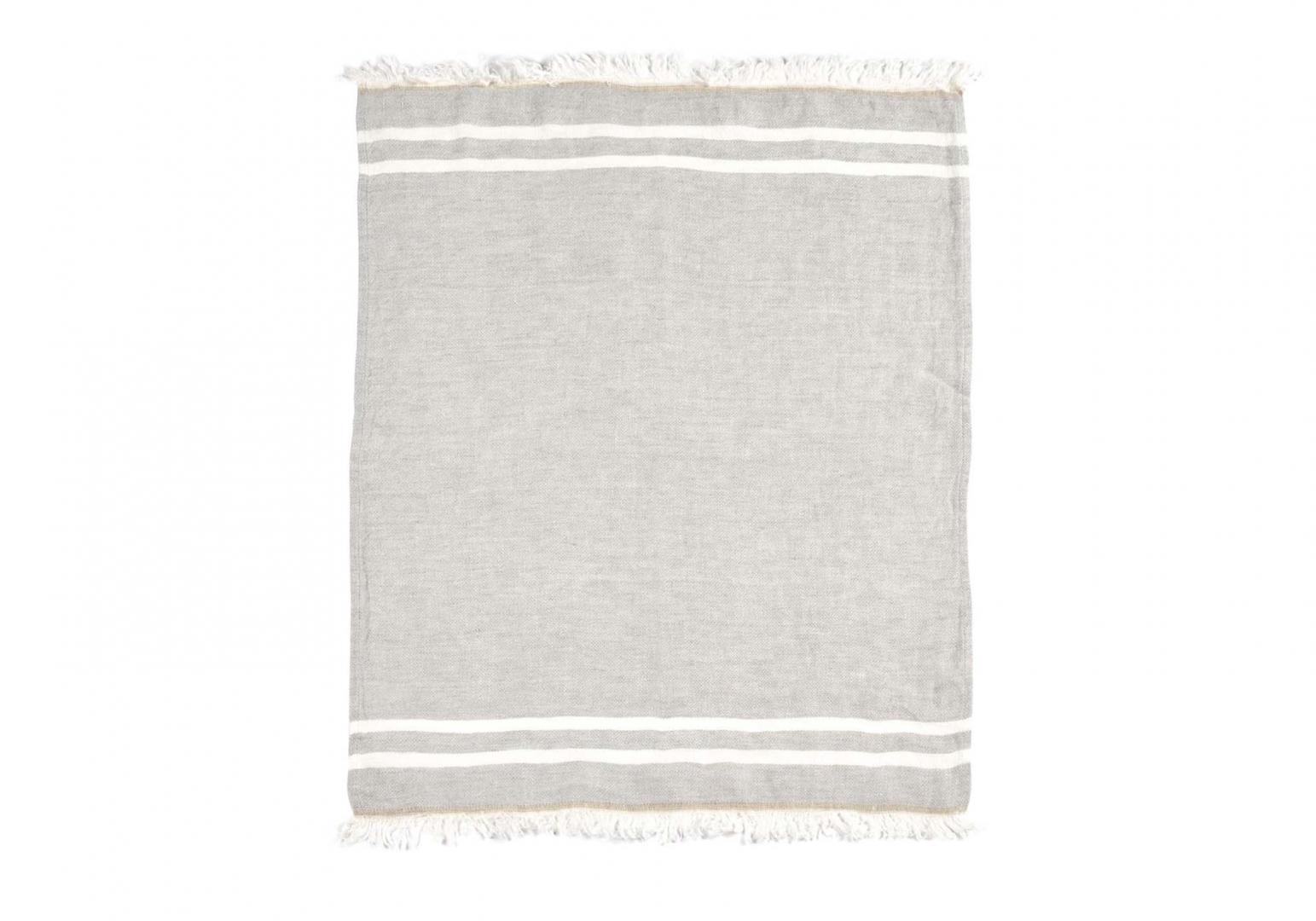The Belgian Towel Fouta gray stripe - LIBECO