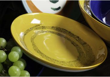 Assiette XS sunny yellow dots noir Feast Ottolenghi - SERAX
