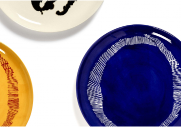 Assiette L lapis lazuli stripes blanc Feast Ottolenghi - SERAX
