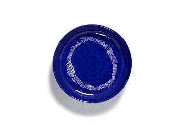 Assiette haute lapis lazuli stripes blanc Feast Ottolenghi - SERAX