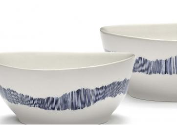 Bol Feast S blanc swirl stripes bleu - SERAX
