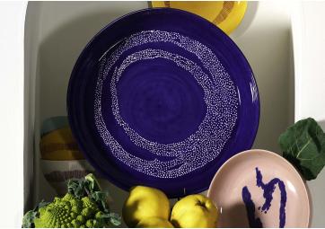 Plat de service M lapis lazuli dots blanc Feast Ottolenghi - SERAX