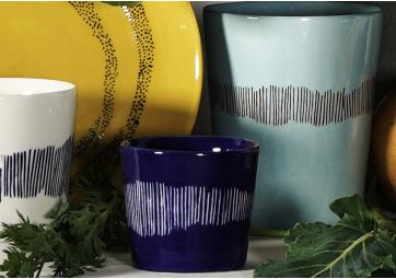 Tasse à expresso Feast lapis lazuli swirl stripes blanc - SERAX