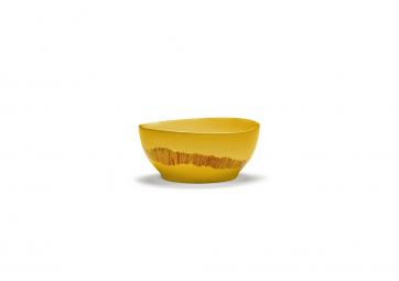 Bol Feast S sunny yellow swirl stripes rouge - SERAX