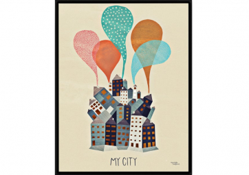Affiche My City orange - MICHELLE CARLSLUND