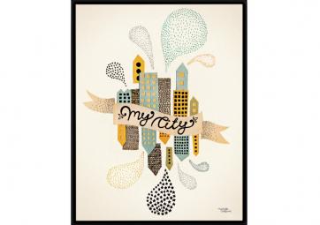 Affiche My City Jaune - MICHELLE CARLSLUND