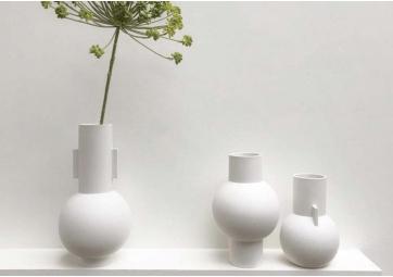 Vase White mat L - HK LIVING