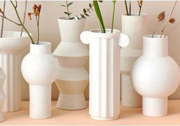 Vase White mat M - HK LIVING