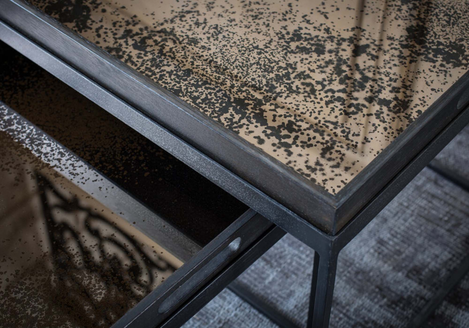 Plateau rectangulaire Bronze Mirror design ethnicraft